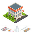isometric pharmacy store facade of pharmacy in vector image vector image