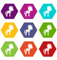 little pony icon set color hexahedron vector image vector image