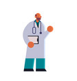 male doctor in white coat holding clipboard vector image