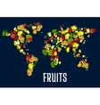 Map of world continents designed of fruits vector image