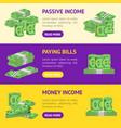 money dollar banner horizontal set packing in vector image vector image