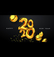 new year 2020 gold 3d party balloon card vector image