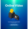 online video poster of isometric color design vector image vector image