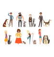 people walking with their dogs set owners and vector image vector image