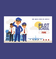 pilot school web page flight crew study and vector image