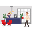 reception desk in business office man and woman vector image
