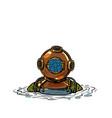 retro deep sea diver in metal helmet isolate vector image
