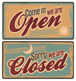 Retro metal signs set for store or shop vector image