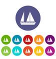sailing boat set icons vector image vector image