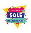 sale banner discount up to 50 percent off abstra vector image