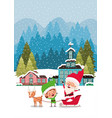 santa clous and helper with sled vector image vector image