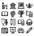 school and education icons set on white background vector image