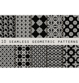 Set of 10 monochrome seamless patterns vector image