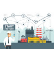 smart factory and network icons engineer starting vector image