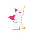 snowman character skiing with a magic wand vector image vector image