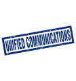 square grunge blue unified communications stamp vector image vector image
