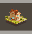 suburban family house with a playground vector image vector image