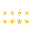 sun yellow sunshine icon sun with line and swirl vector image