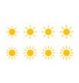 sun yellow sunshine icon sun with line and swirl vector image