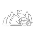 travel bag camping with camping tent vector image vector image