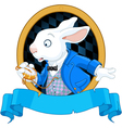 White Rabbit with watch design vector image vector image