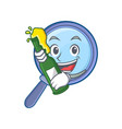with beer magnifying glass character cartoon vector image