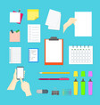 cartoon business color equipment collection vector image