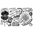 barbecue set in vintage style drawn hand bbq vector image