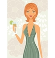Beautiful elegant woman with cocktail vector image vector image