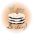 Birthday cake with creme and cherry vector image