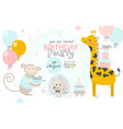 birthday invitation with cute giraffe hedgehog vector image