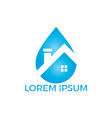 blue water drop home logo design vector image vector image