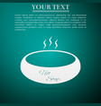 bowl of hot soup flat icon on green background vector image vector image