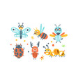 bugs set funny cartoon insects collection vector image vector image