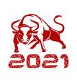 bull symbol 2021 vector image