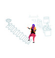 businesswoman climbing career ladder prize first vector image