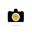 camera icon with smile symbol vector image vector image
