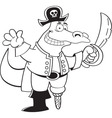Cartoon alligator dressed as a pirate vector image vector image