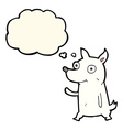 cartoon little dog waving with thought bubble vector image