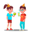 children drink juice at party isolated vector image vector image