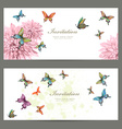collection invitation cards with butterflies vector image vector image