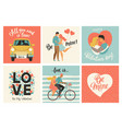 collection of designs with cute loving couples vector image
