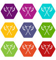 crossed battle axes icon set color hexahedron vector image vector image