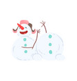 cute amusing snowman character christmas and new vector image vector image