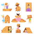 cute creative kids playing toys and costumes made vector image vector image