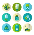 Ecology and waste flat icons set vector image vector image