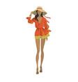 fashion model in the trendy orange dress vector image