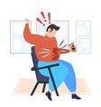 fat man spilling coffee on shirt overweight man vector image
