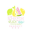 fresh juice 100 percent natural product logo vector image