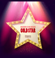 golden star in rays bright light vector image